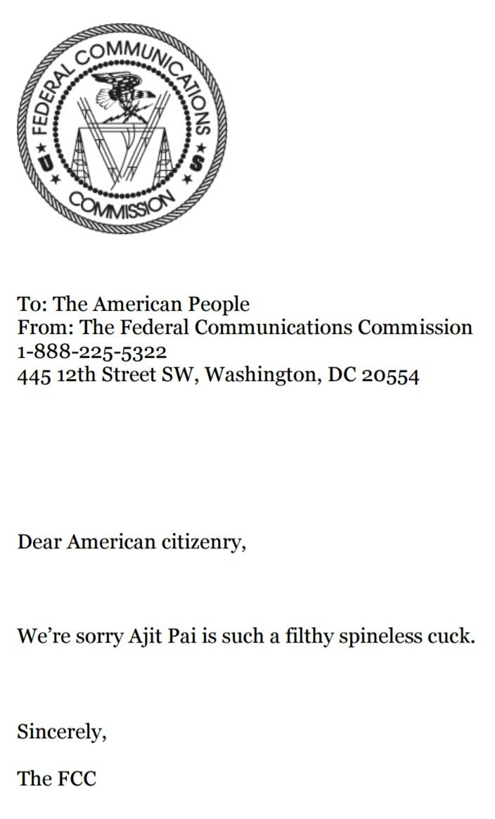 FCC's Ajit Pai Apology