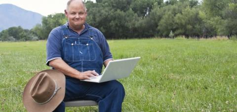 Man Using Rural Internet